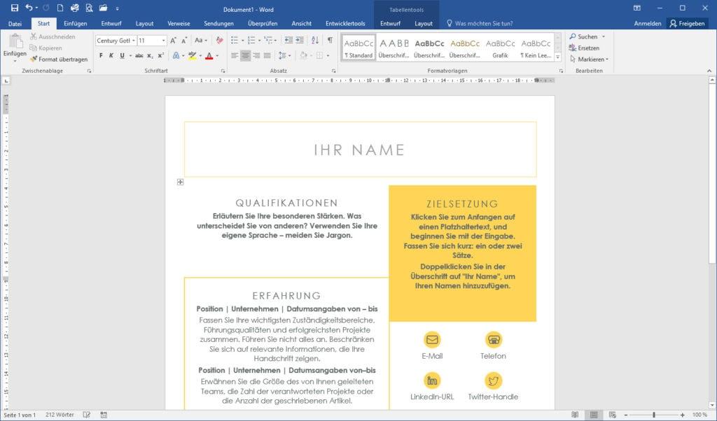 Screenshot MS Word
